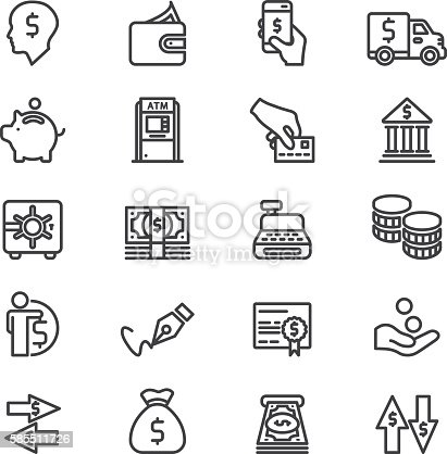 Bank Finance Money & Payment Line icons