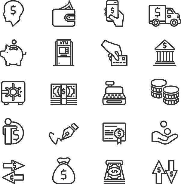 Bank Finance Money & Payment Line icons | EPS10 Bank Finance Money & Payment Line icons  budget symbols stock illustrations