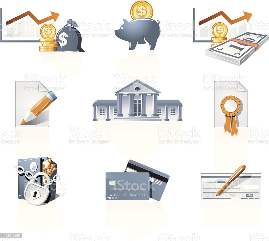 Bank, finances and stock-market icons royalty-free stock vector art