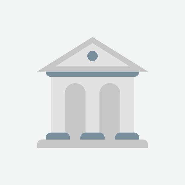 ilustrações, clipart, desenhos animados e ícones de projeto liso do banco-ilustração - banco edifício financeiro