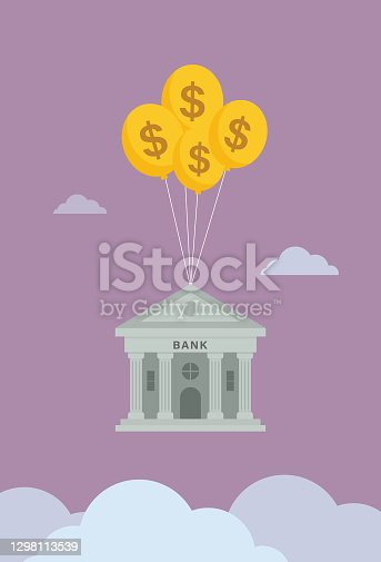 istock Bank float in the sky by US dollar symbol balloon 1298113539