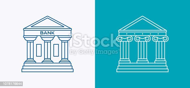 Bank courthouse or public government building line drawing symbols and icons.