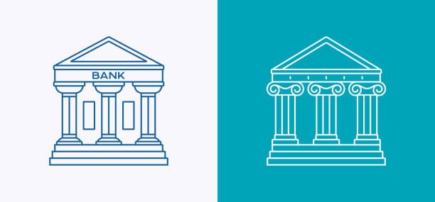 ilustrações, clipart, desenhos animados e ícones de ícone de linha banco governo tribunal arquitetura - banco edifício financeiro