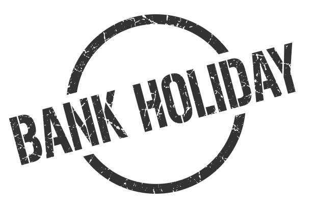 bank holiday stamp bank holiday black round stamp national holiday stock illustrations