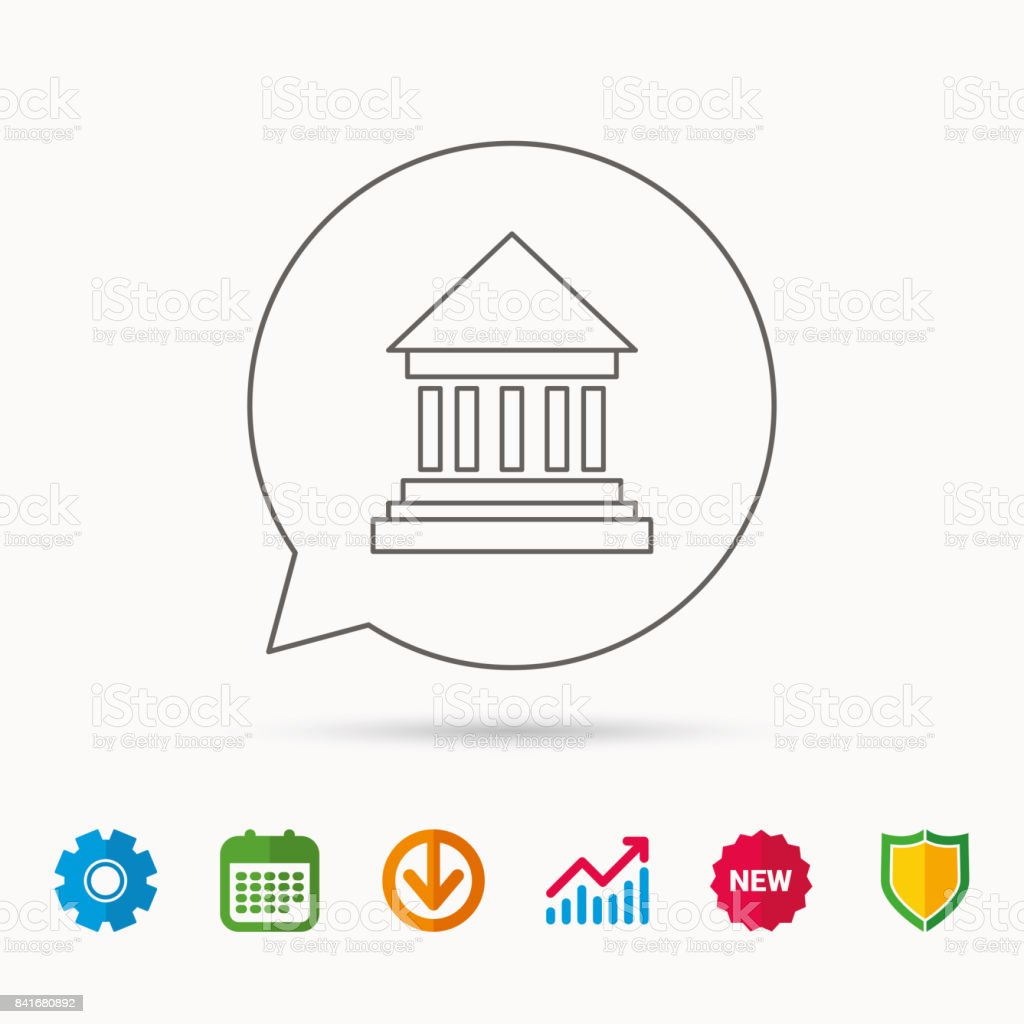 Bank icon. Court house sign. vector art illustration