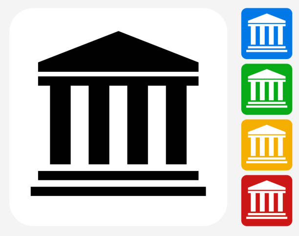 Bank Icon Flat Graphic Design Bank Icon. This 100% royalty free vector illustration features the main icon pictured in black inside a white square. The alternative color options in blue, green, yellow and red are on the right of the icon and are arranged in a vertical column. financial building stock illustrations