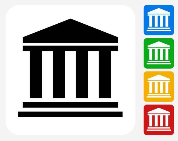 stockillustraties, clipart, cartoons en iconen met bank icon flat graphic design - bank financieel gebouw