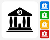 Bank Icon Flat Graphic Design