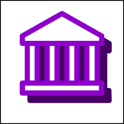 Bank icon in simple flat design 8
