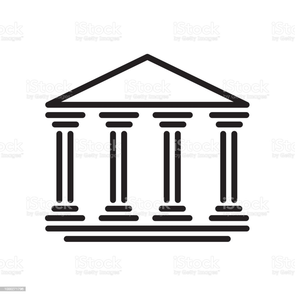 Bank icon isolated on white background vector art illustration