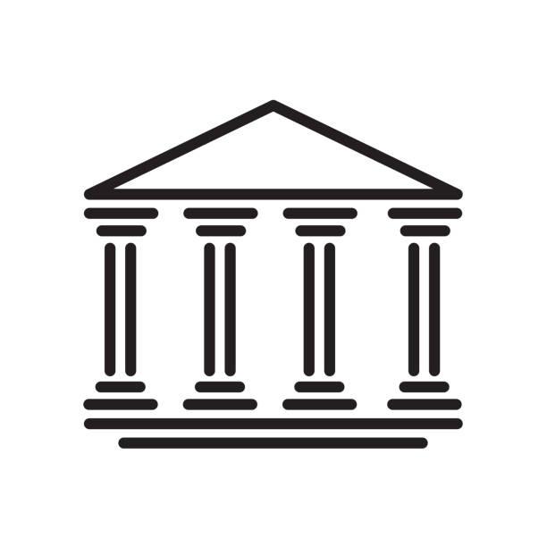 Bank icon isolated on white background vector art illustration