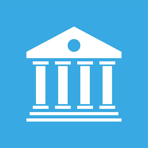 Bank icon on a blue background. Illustration includes a white, Bank icon on a blue, square shape, color button on a white background. wall street stock illustrations