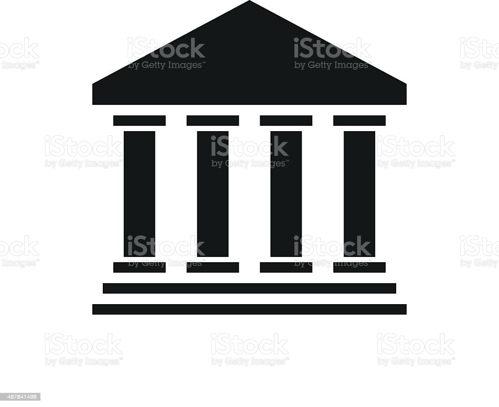 Bank icon on a white background. vector art illustration