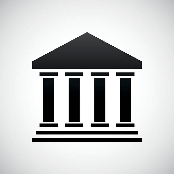 Bank icon on a white background. Illustration includes a black, Bank icon on a white background. courthouse stock illustrations