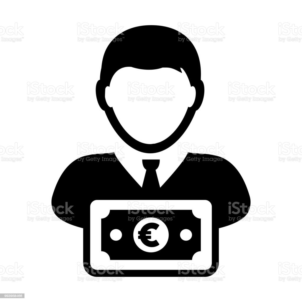Bank Icon Vector Male User Person Profile Avatar With Euro Sign