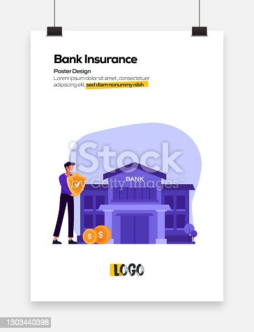Bank Insurance Concept Flat Design for Posters, Covers and Banners. Modern Flat Design Vector Illustration.