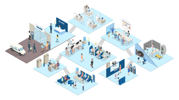Bank interior isometric. People standing vector art illustration