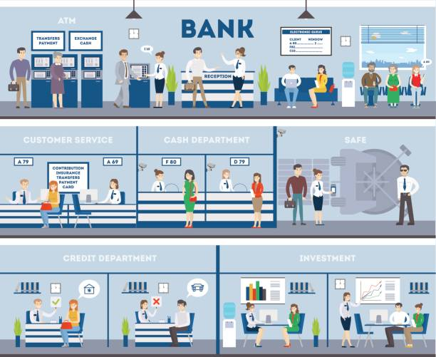 Bank interior set with visitors and workers. vector art illustration