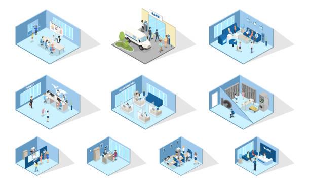illustrations, cliparts, dessins animés et icônes de intérieur de la banque - hall d'accueil