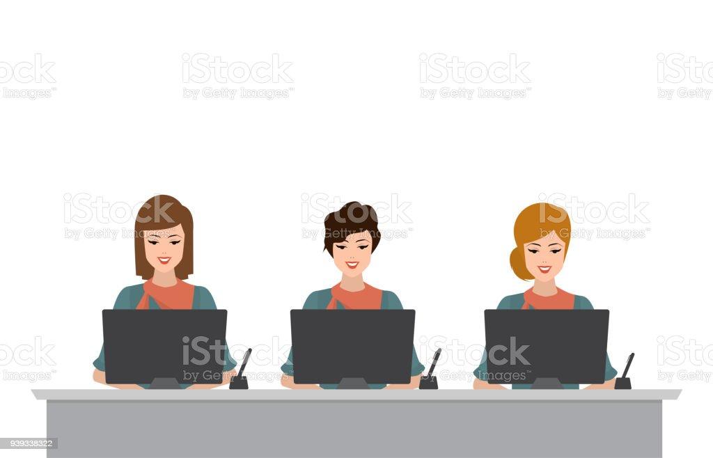 bank interieur met kassier exploitant vrouw zitten financile teller service illustratie vector platte mensen