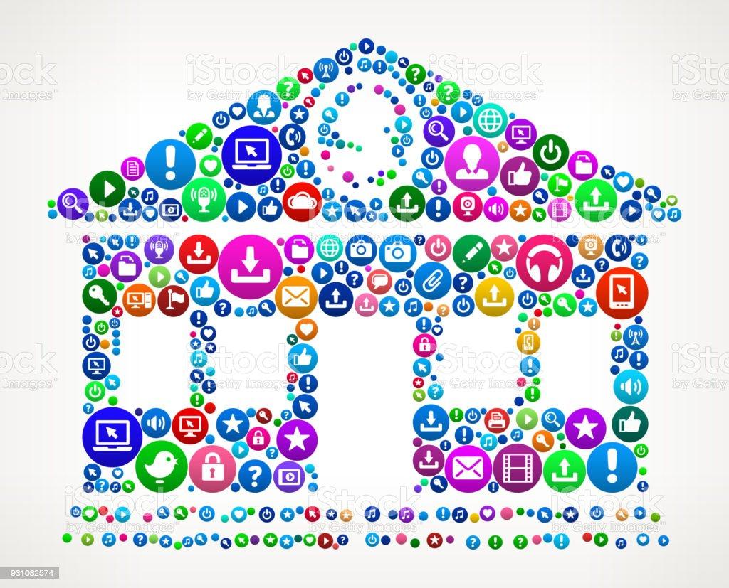 Bank Internet Communication Technology Icon Pattern vector art illustration