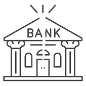 Bank is cracked thin line icon, economic sanctions concept, Broken bank building sign on white background, Bank bankruptcy icon in outline style for mobile concept, web design. Vector graphics
