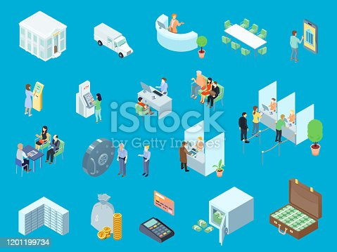 Bank set of isometric icons including people, money, vehicle, online service on blue background isolated vector illustration