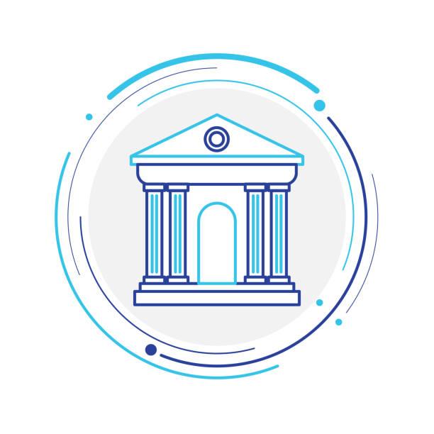 ilustrações, clipart, desenhos animados e ícones de linha de banco cion - banco edifício financeiro