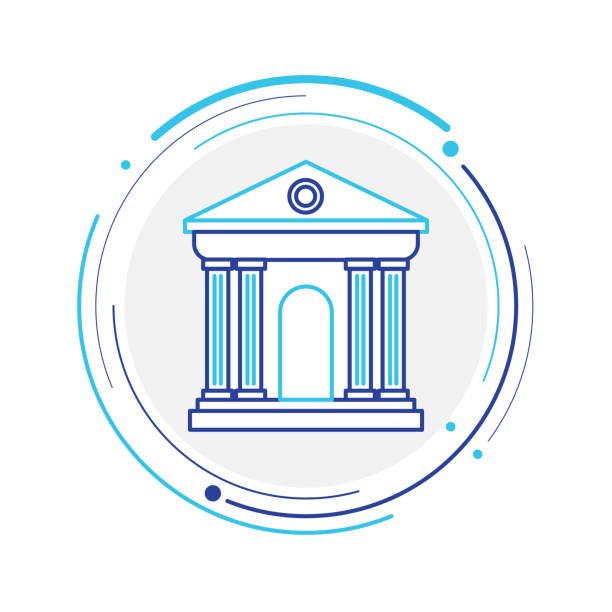 Bank line cion Credit Card, Currency, India, Bank, Banking financial building stock illustrations