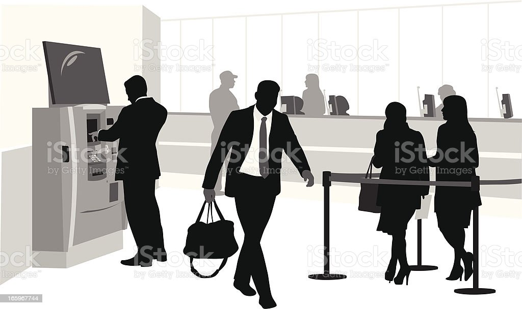 Bank Lineups Vector Silhouette royalty-free bank lineups vector silhouette stock vector art & more images of atm