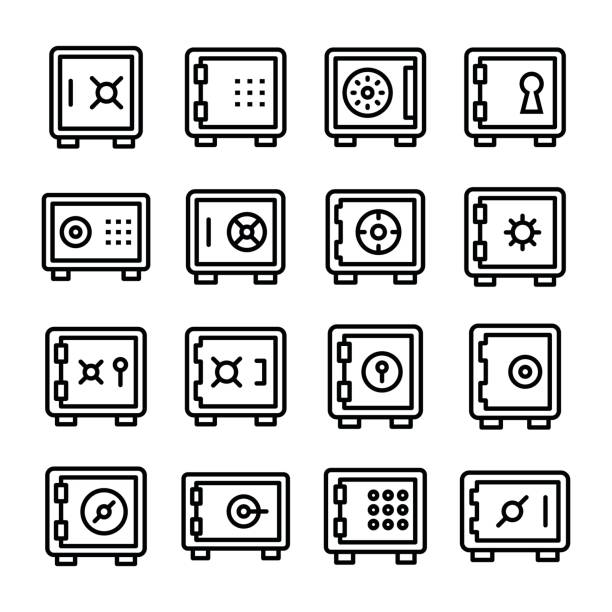 Bank Locker Line Vector Icons Set Money safety and money locker icons for your web and app. Bank Locker, Bank Vault, Security Deposit, and Bank Locker included in this pack. safety deposit box stock illustrations