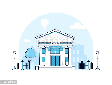 Bank - modern thin line design style vector illustration on white background. Blue colored high quality composition with a building with pillars, columns, lantern, tree, fence. Urban architecture