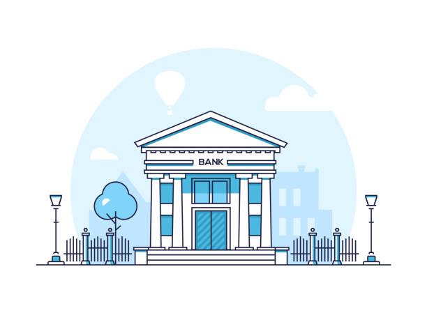 ilustrações, clipart, desenhos animados e ícones de banco - linha fina moderno design ilustração vetorial de estilo - banco edifício financeiro