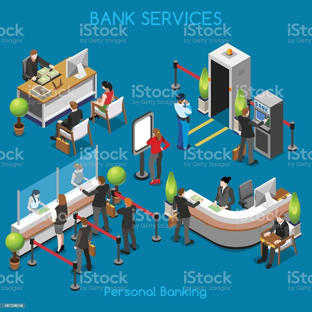Bank Office 02 People Isometric vektör sanat illüstrasyonu