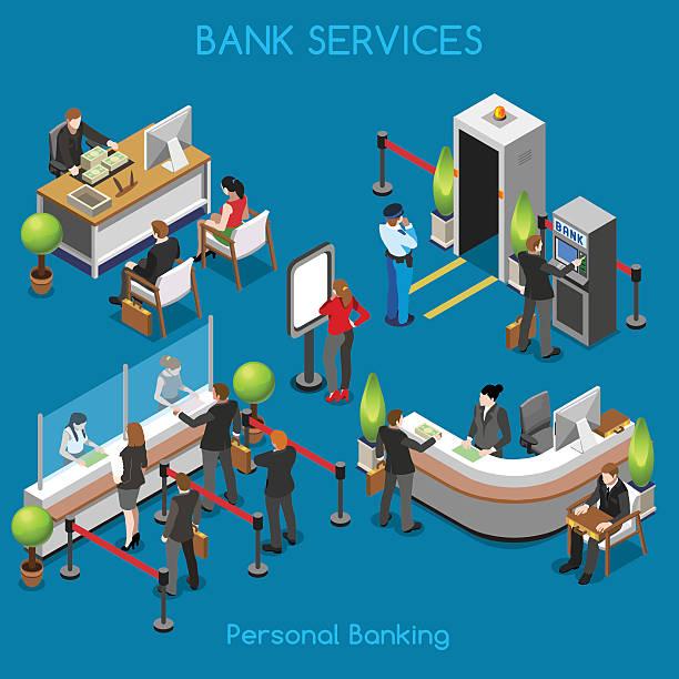Bank Office 02 People Isometric vector art illustration