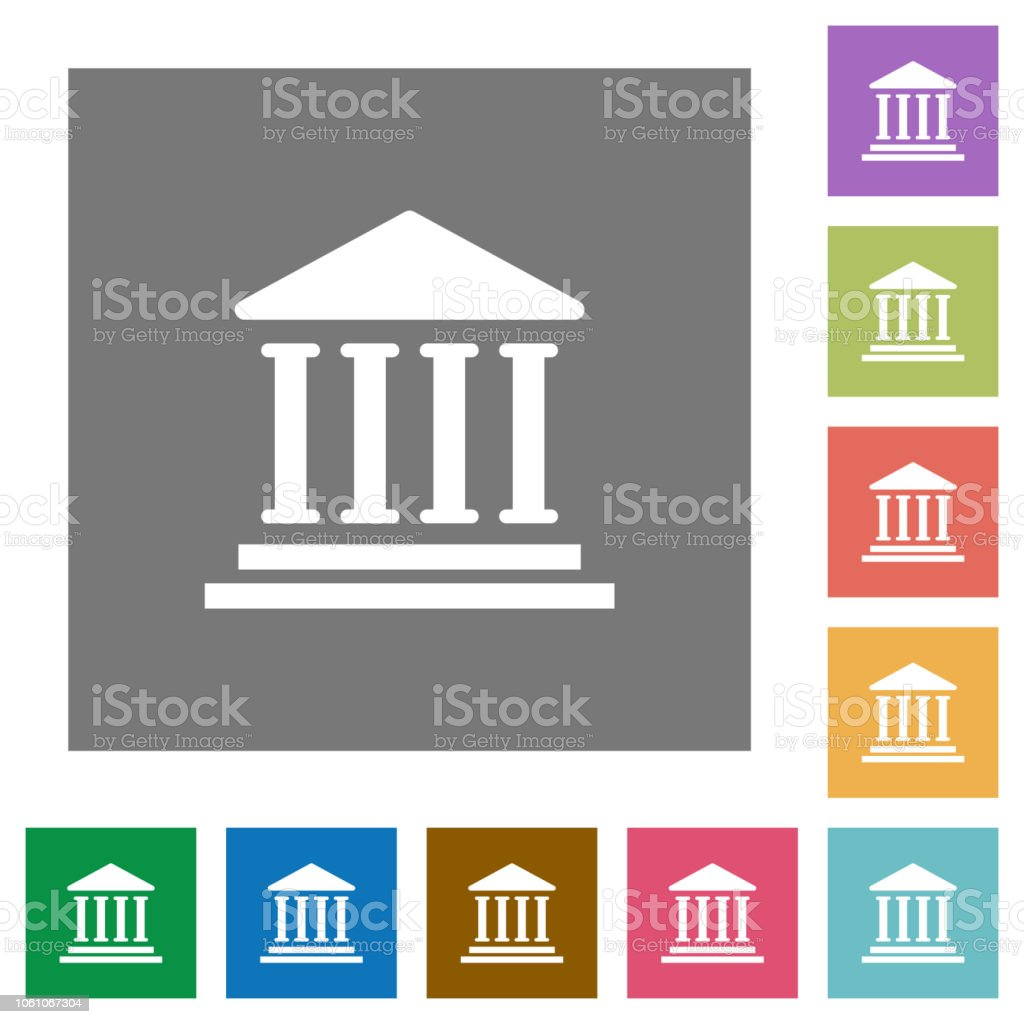 Bank Office Building Square Flat Icons Stock Vector Art More