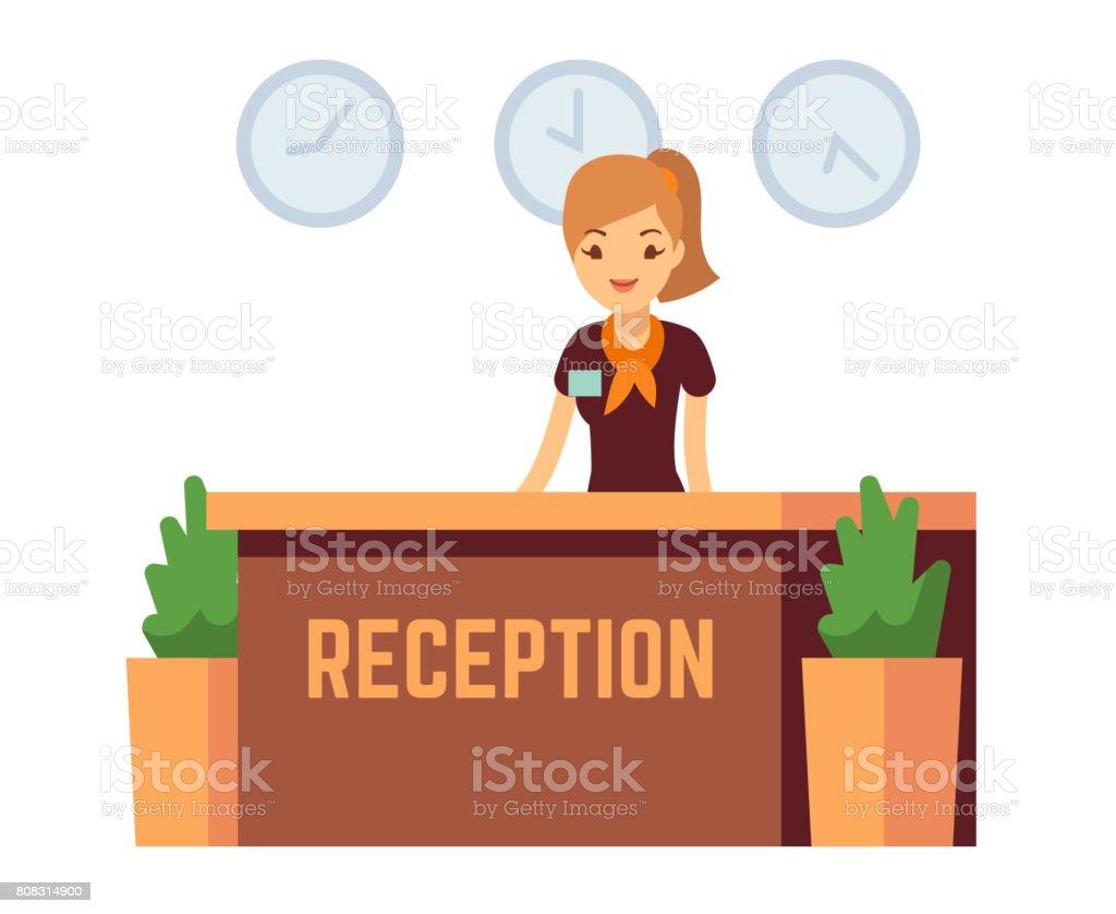 Recepción de oficina o hotel de banco con recepcionista sonriente ilustración vectorial de mujer - ilustración de arte vectorial
