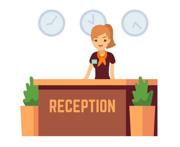 bank office or hotel reception with receptionist smiling woman vector illustration - receptionist stock illustrations, clip art, cartoons, & icons