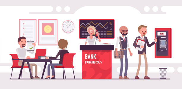 bank office working with clients - bank stock illustrations