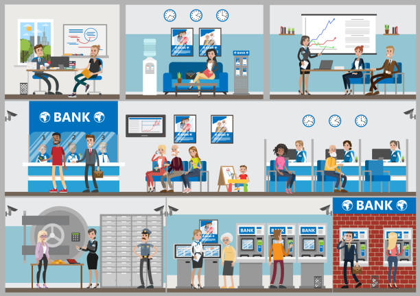bank offices set. - bank stock illustrations