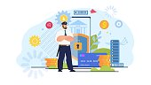 Online Banking Transactions Security, Money Transfer in Internet Defence, Mobile Payments Safety Trendy Flat Vector Concept. Policeman, Bank Guard Protecting Digital Financial Operations Illustration