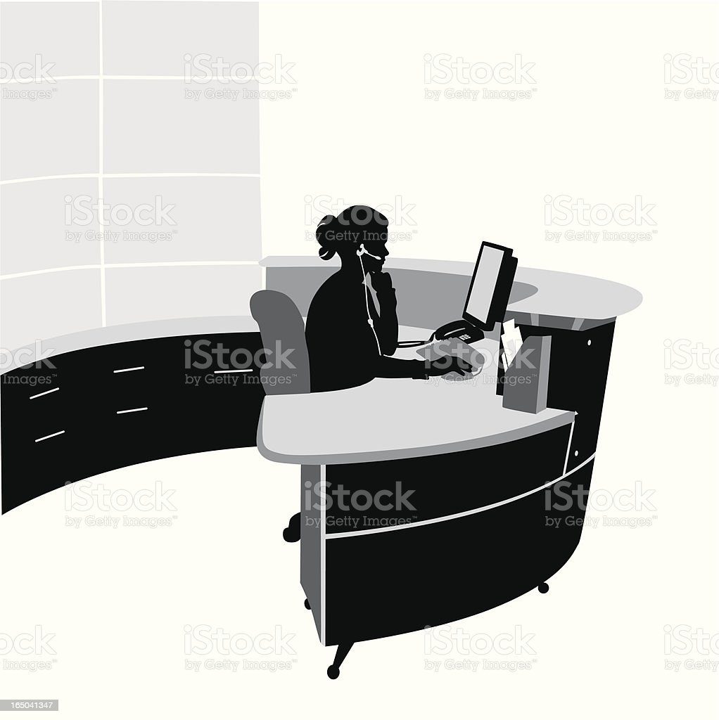 Bank Reception Center Vector Silhouette royalty-free stock vector art