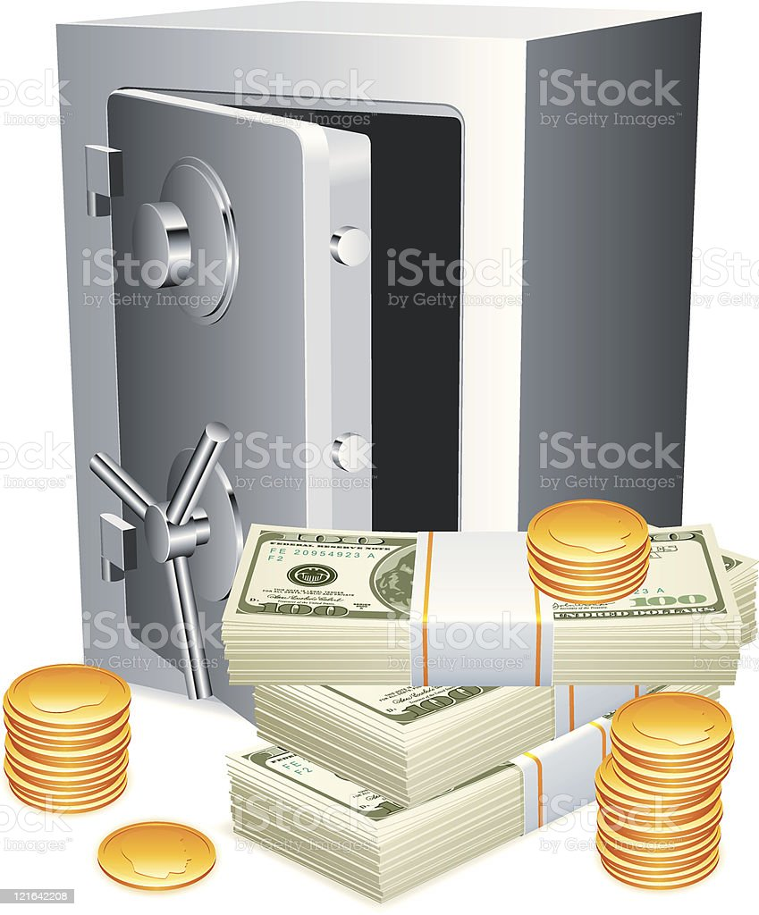 Bank safe and money. royalty-free bank safe and money stock vector art & more images of bank