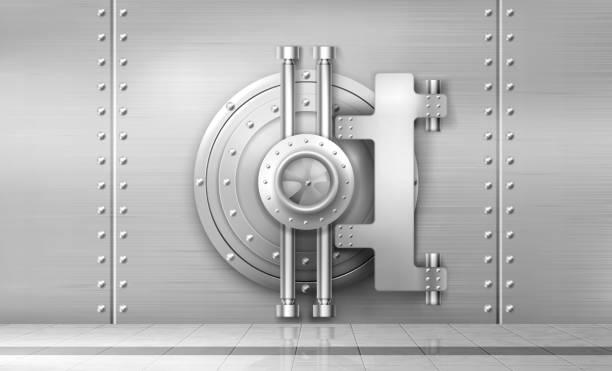 banksafe und tresortür, metallstahl-rundtor - safe stock-grafiken, -clipart, -cartoons und -symbole