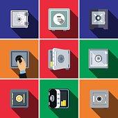 Bank safe flat icon set