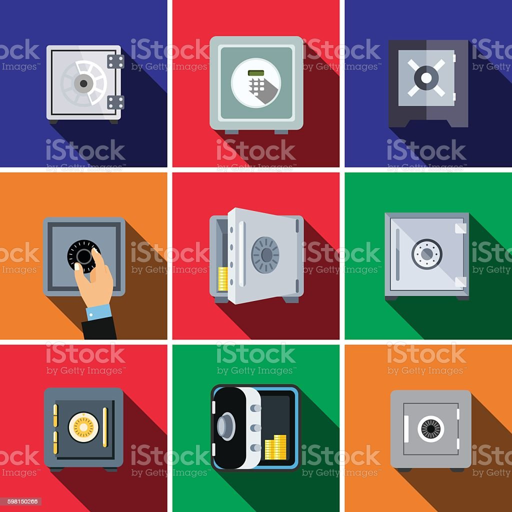 Bank safe flat icon set vector art illustration