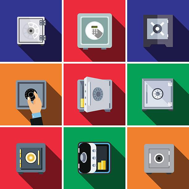 Bank safe flat icon set - Illustration vectorielle