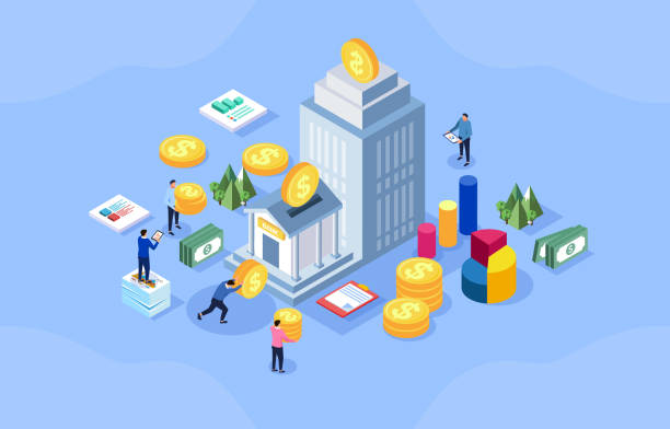 Bank savings and financial management vector art illustration
