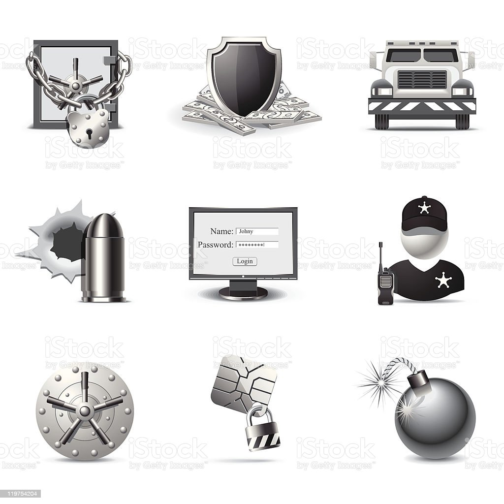 Bank security | B&W series vector art illustration