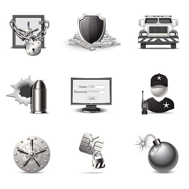 Bank security   B&W series vector art illustration
